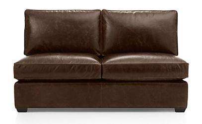 Davis Leather Armless Full Sleeper Sofa Libby Cashew