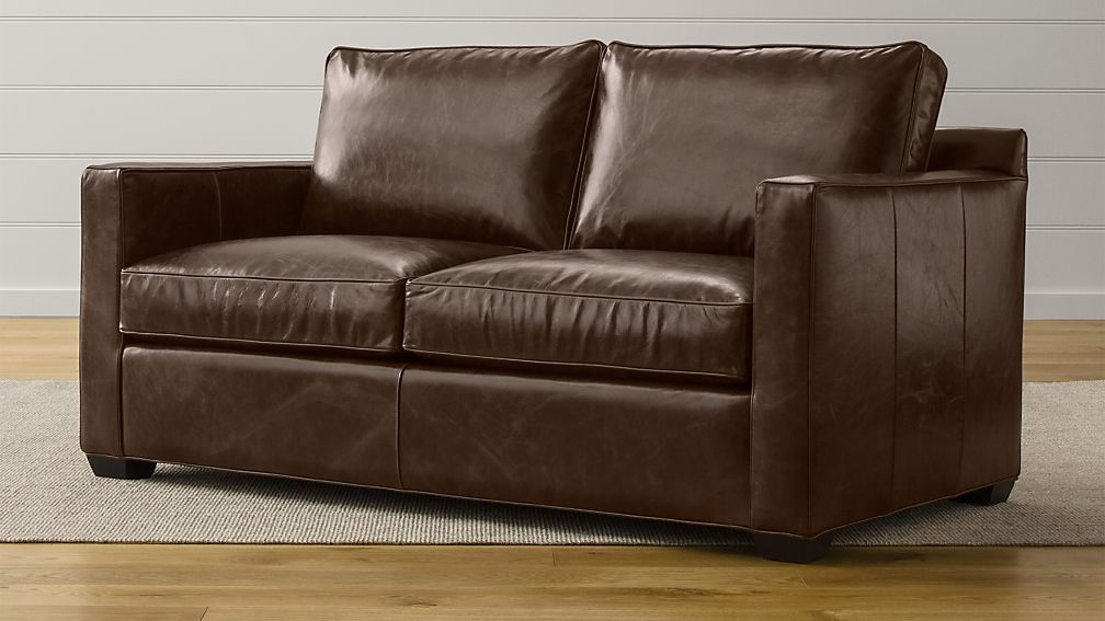 Davis Leather Apartment Sofa | Crate and Barrel