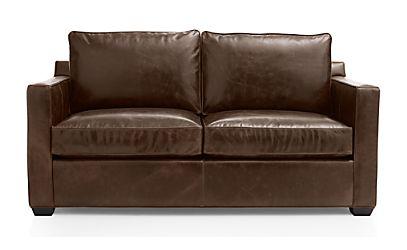 Davis Leather Full Sleeper Sofa with Air Mattress Libby Cashew