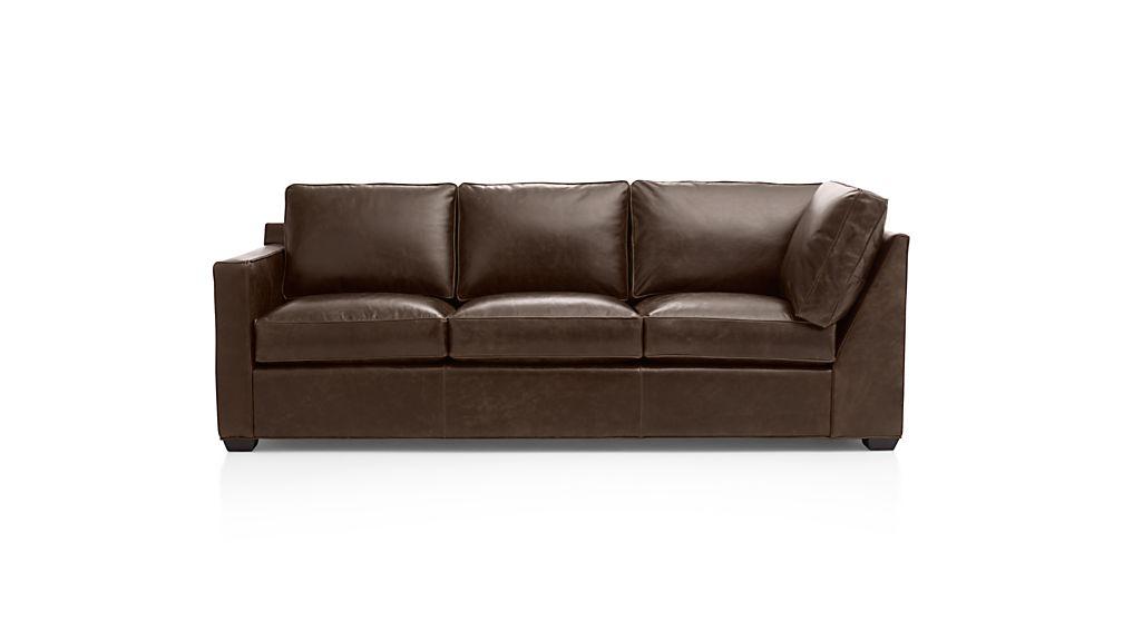 Davis Leather Left Arm Corner Sofa