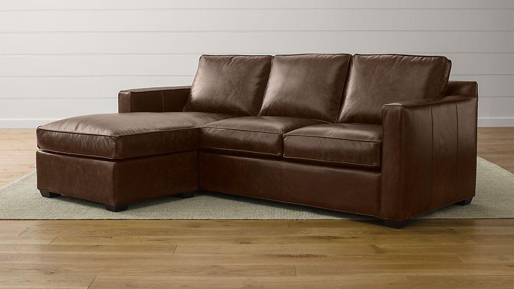 Davis Leather Left Arm 3-Seat Lounger