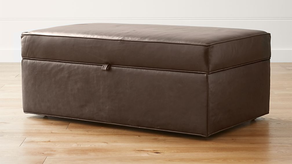 Davis Leather Storage Ottoman with Tray ... - Davis Leather Storage Ottoman With Tray Crate And Barrel