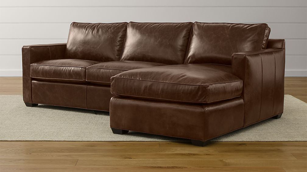 Davis leather 2 piece sectional sofa crate and barrel for Davis 2 piece sectional sofa