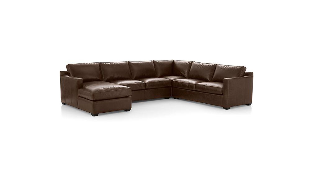 Davis Leather 4-Piece Sectional Sofa