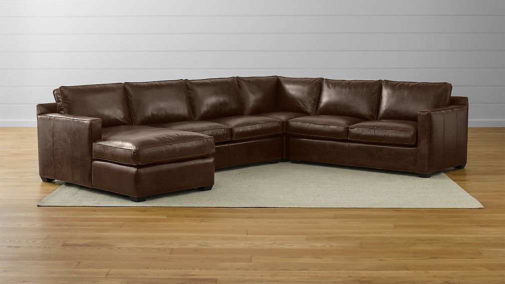 Davis Leather 4-Piece Sectional Sofa ... : 4 piece sectional with chaise - Sectionals, Sofas & Couches