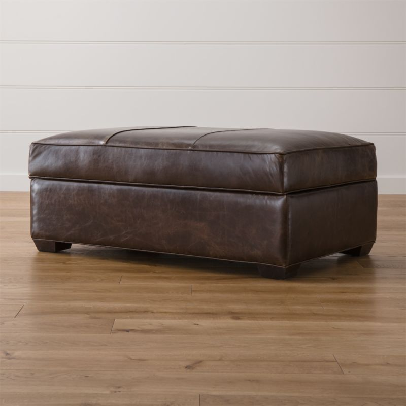 Davis Leather Storage Ottoman in Ottomans Cubes Reviews Crate