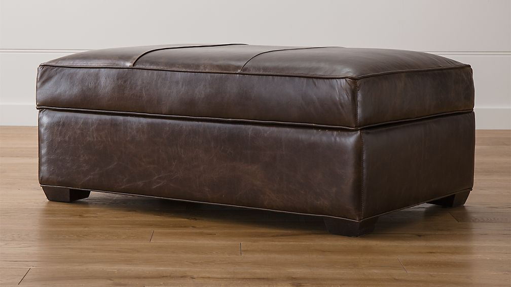 Davis Leather Storage Ottoman ... - Davis Leather Storage Ottoman Crate And Barrel