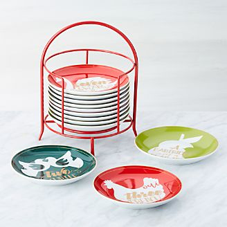 days of christmas plates with stand