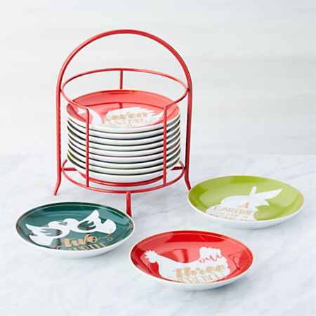 Christmas Plates.Days Of Christmas Plates With Stand Crate And Barrel