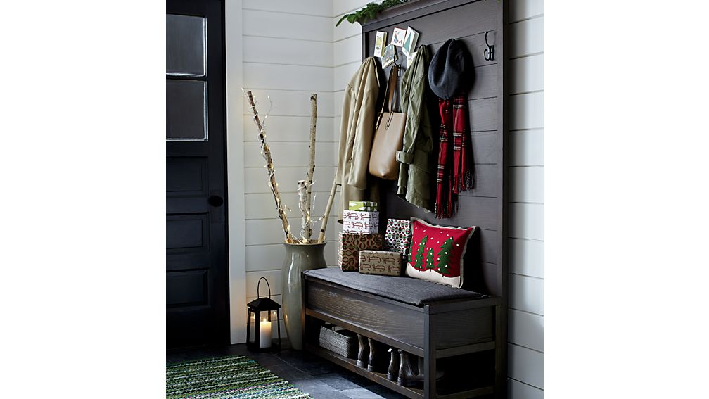 Dearborne Bench with Coat Rack and Cushion
