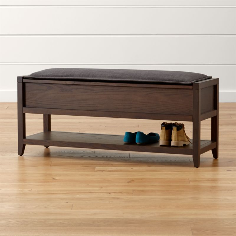 Dearborne storage bench with grey cushion crate and barrel for Narrow windows for sale