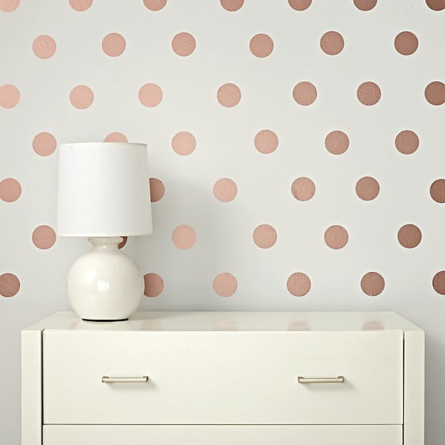 Rose Gold Polka Dot Wall Decals Reviews Crate And Barrel