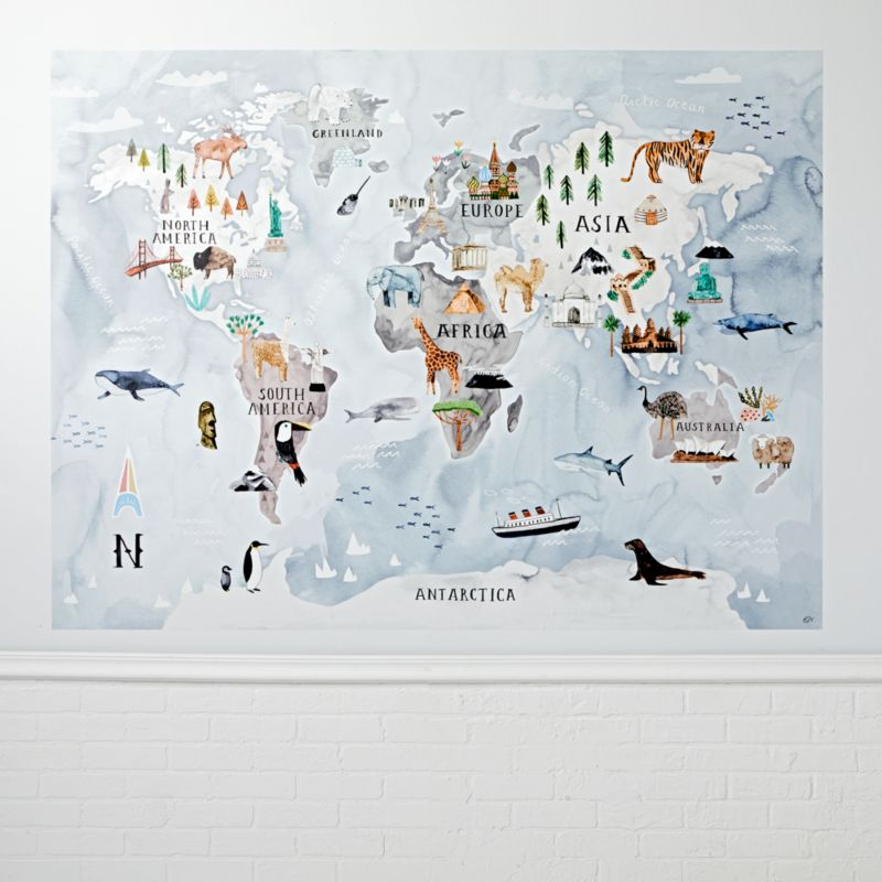 Watercolor World Map Decal + Reviews | Crate and Barrel