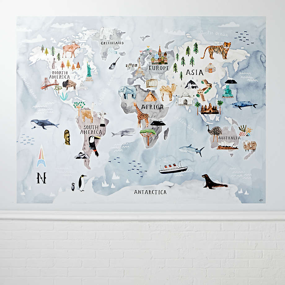 Watercolor World Map Decal Reviews Crate And Barrel