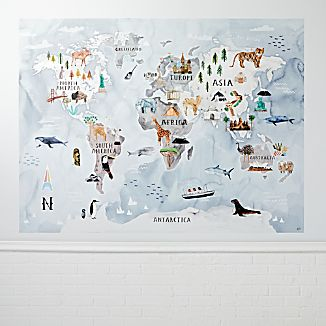 Kids wall map crate and barrel watercolor world map mural decal gumiabroncs Gallery