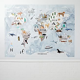 Kids wall art and decor crate and barrel watercolor world map mural decal gumiabroncs Image collections