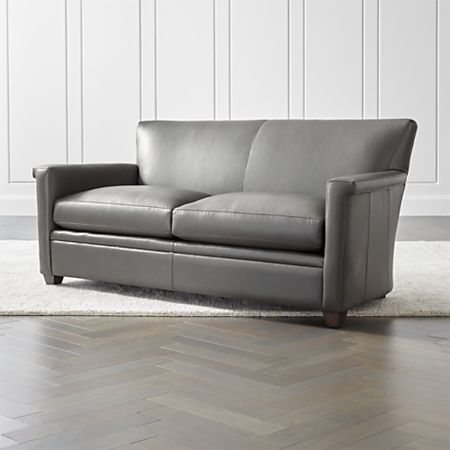 Declan Leather Apartment Sofa + Reviews | Crate and Barrel