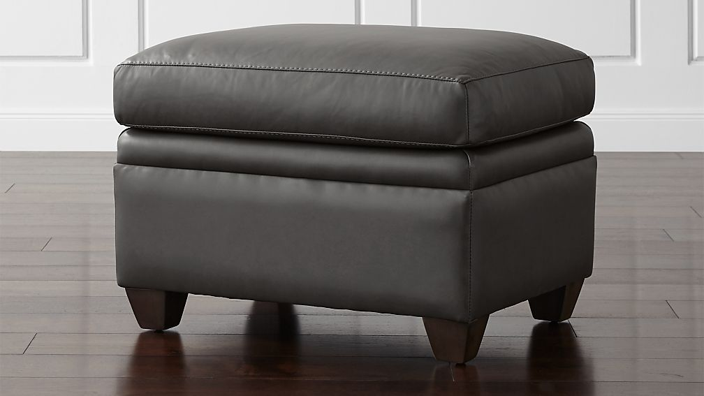 Declan Leather Ottoman - Image 1 of 4