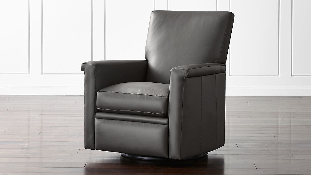 declan leather 360 swivel recliner reviews crate and barrel