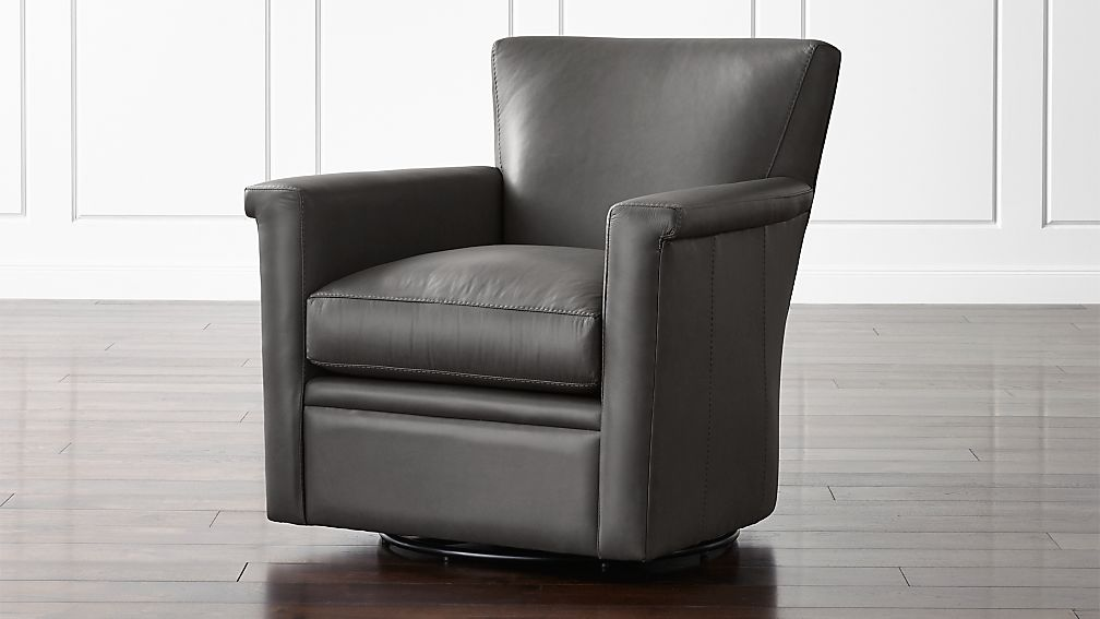 Declan Leather 360 Swivel Chair - Image 1 of 6