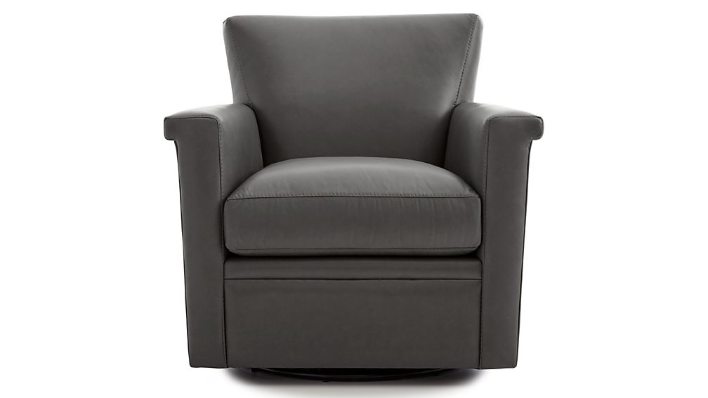 Declan Leather 360 Swivel Glider