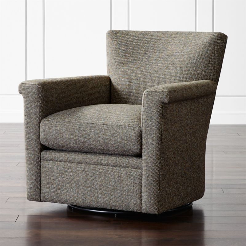 Declan Leather 360 Swivel Chair + Reviews | Crate and Barrel