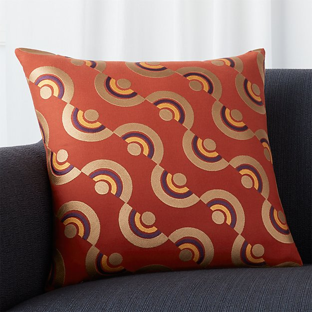 """Deco Rust 18"""" Pillow with Feather-Down Insert"""