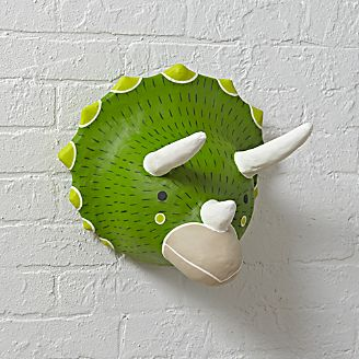 Kids wall art and decor crate and barrel paper mache dinosaur head greentooth Choice Image