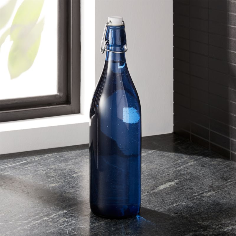 deep blue airtight 1 liter glass bottle reviews crate and barrel