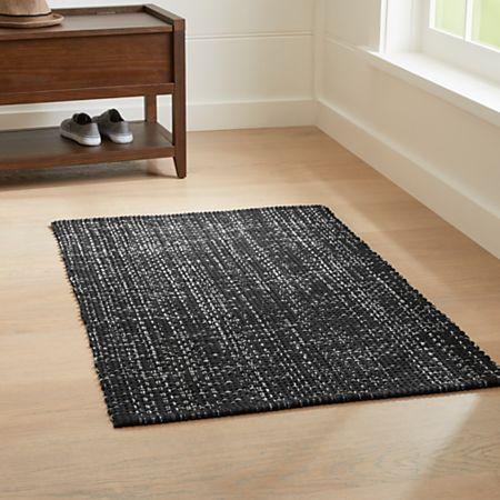 Della Black Cotton Flat Weave Rug