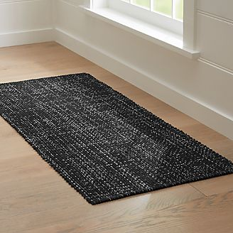 Beau Della Black Cotton Flat Weave Rug Runner 2.5x6