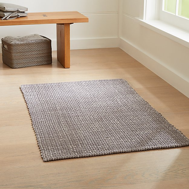 Della Grey Cotton Flat Weave Rug Crate And Barrel