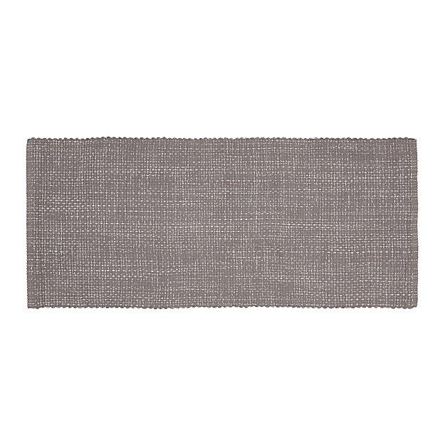 Della Grey Cotton Flat Weave Rug Runner 2.5'x6' - Image 1 of 3