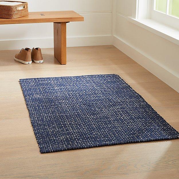 Della Indigo Cotton Flat Weave Rug - Image 1 of 4