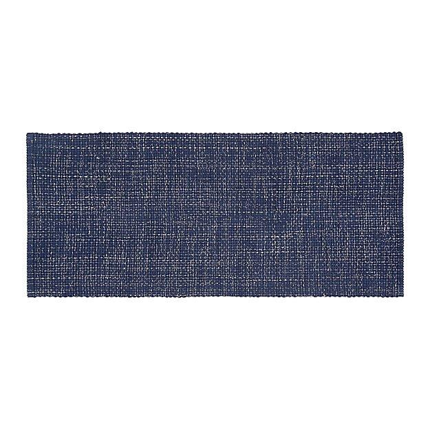 Della Indigo Cotton Flat Weave Rug Runner 2.5'x6' - Image 1 of 4