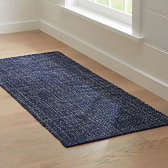 Superbe Della Indigo Cotton Flat Weave Rug Runner 2.5x6