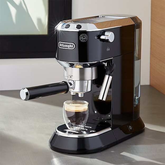 delonghi dedica slimline black espresso maker reviews crate and barrel. Black Bedroom Furniture Sets. Home Design Ideas
