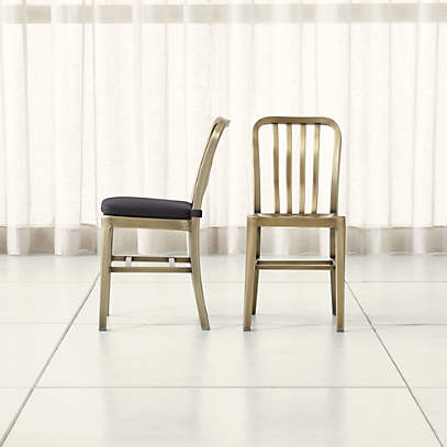 Delta Brass Dining Chair And Cushion Crate And Barrel