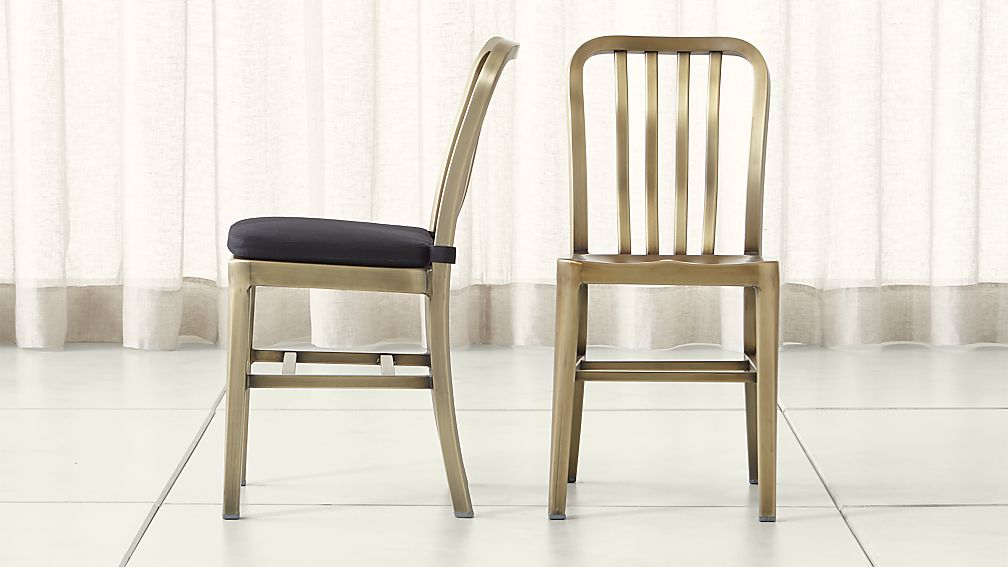 Delta Brass Dining Chair and Cushion - Image 1 of 9