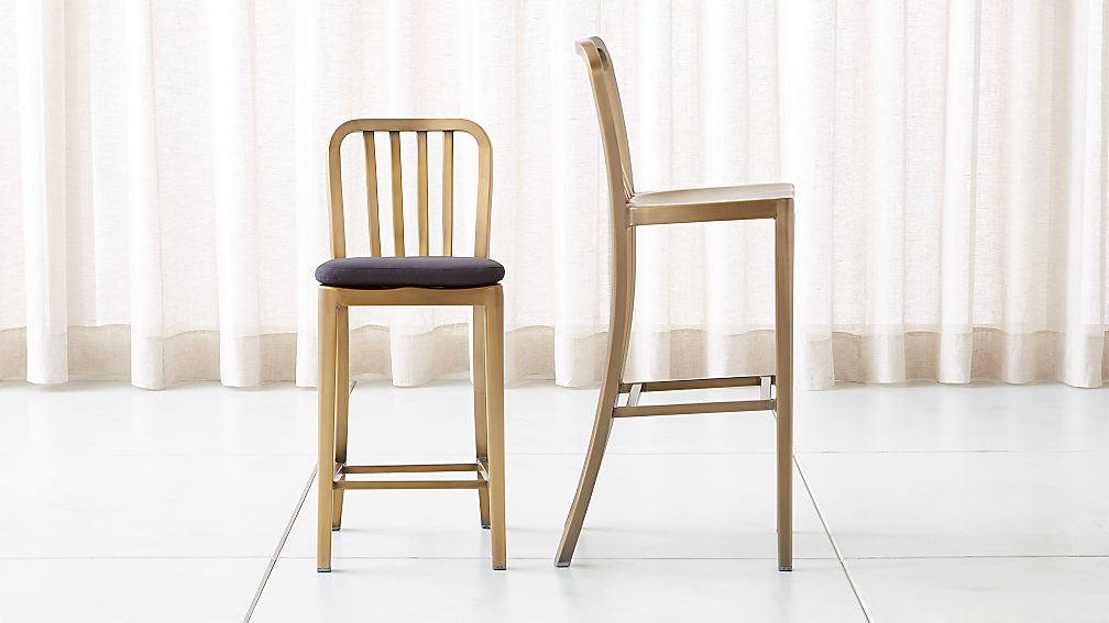 Delta Brass Bar Stools And Cushion Crate And Barrel