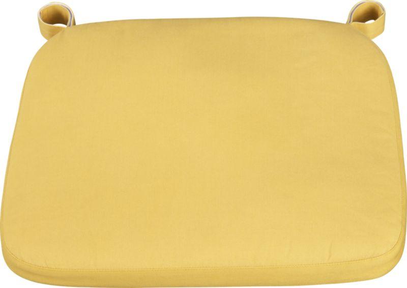 Our custom cushion in yellow features a contemporary box style.<br /><br /><NEWTAG/><ul><li>100% cotton cover</li><li>Machine wash</li><li>Fabric tab fasteners</li><li>Made in India</li></ul>