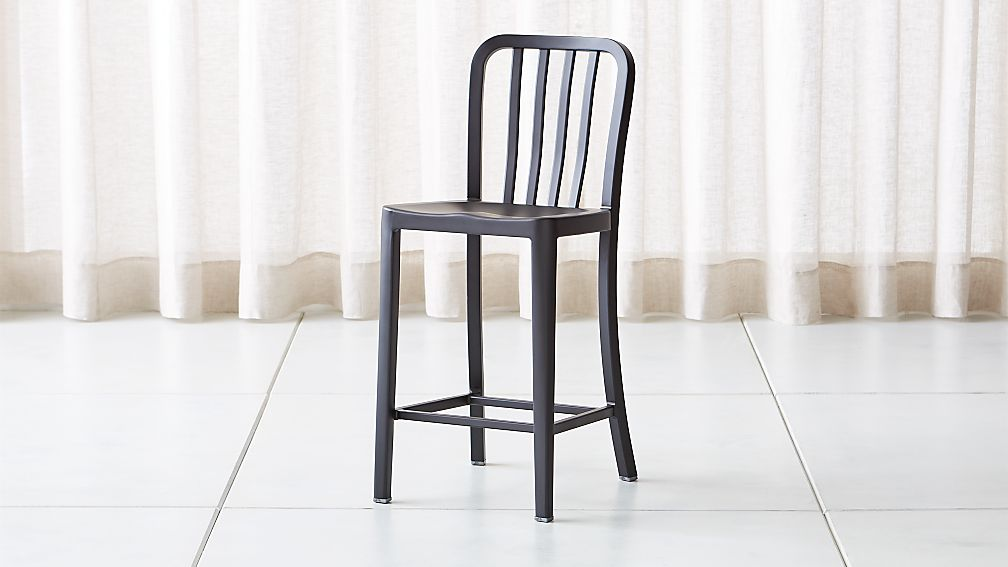 Delta Matte Black Counter Stool - Image 1 of 8