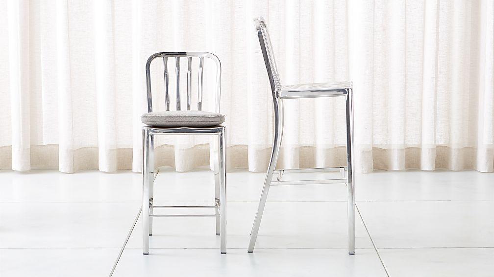 Delta Mirror Bar Stools and Cushion - Image 1 of 6