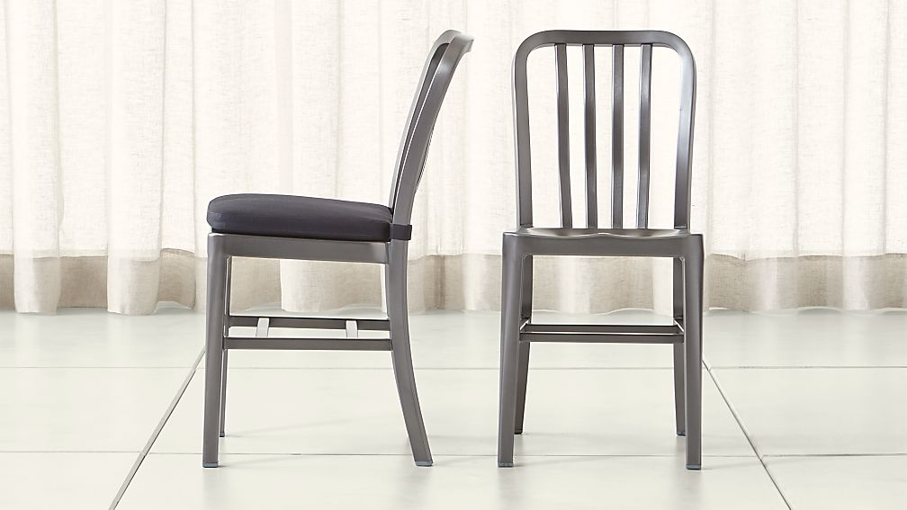 Delta Nickel Dining Chair and Cushion - Image 1 of 9