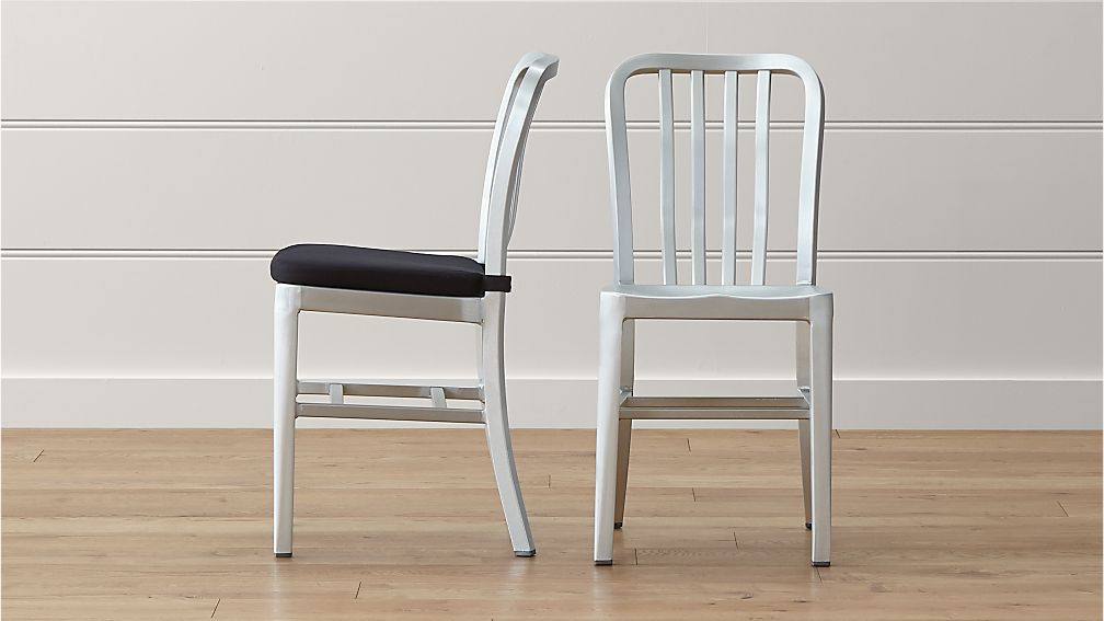 Metal Dining Chairs Industrial delta aluminum dining chair and cushion | crate and barrel