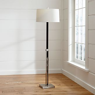 Denley Nickel Floor Lamp with Black Wood