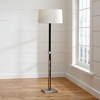 Denley Nickel Floor Lamp with Espresso Wood