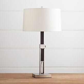 Denley Nickel Table Lamp With Espresso Wood