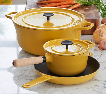 zoomed in photo of Crate and Barrel Enameled Cast Iron cookware designed by Russell Pinch