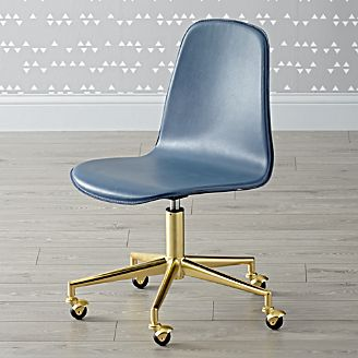 clearance kids furniture crate and barrel Blue Leather Desk Chair Blue Desk Chair with Arms